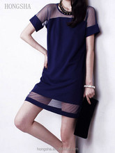 Latex Jurk Shirt Design Navy Sheer Zomer Shift Jurk HSD2251