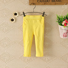 C81883A Girls Solid hole pencil denim pants