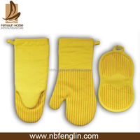 Different Styles Cheap Yellow Cotton Kitchen Oven Mitt Silicone Coated Oven Glove