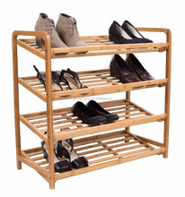 Home 4-Tier Bamboo Wood Shoe Rack Space Saving Shoe Tower Cabinet Storage Organizer