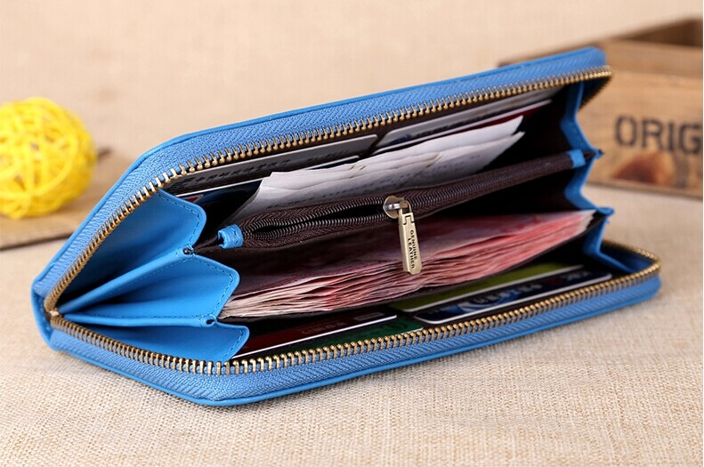 Fashion elegant ladies Leather/PU handbag/ wallet/purse with multicolor with zipper closure