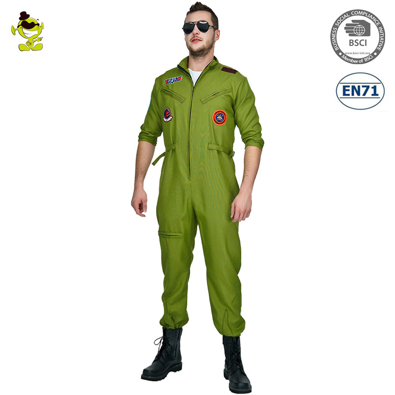 New Men Pilot Top Gun Costume Role Play Party Green Jumpsuit Aviator Costumes