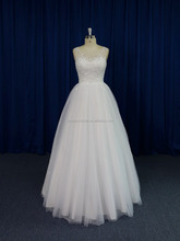 Sheer neck beaded lace wholesale cheap wedding dress ball gown