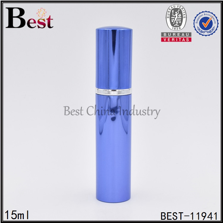 15 ml uv surface empty perfume bottle, aluminum spray bottle with cap