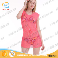 Hot women summer latest net dress flower designs girl beach dresses