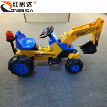 China Factory Wholesale Yellow Color Kids Ride On Electric Farm Toy Tractor 6V Children Toy Crane