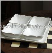 White color 5 pcs hand made ceramic dinnerware