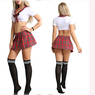 <strong>Sexy</strong> Schoolgirl's Outfit for Womens Costumes Lingerie Set with Tie Top Shirt and Mini Skirt