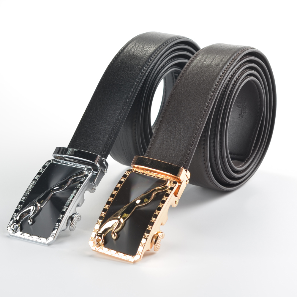 Genuine leather belts for men cowhide belt 100% Alloy Automatic Buckle luxury oem factory