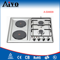 shiny SS panel built in 4 burners gas hob,2 burners built-in gas hob and 2 burners electric hotplate