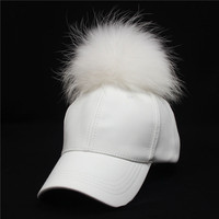 Factory wholesale high quality rabbit Fur Ball Baseball Cap