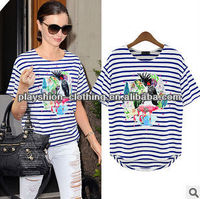 Top Newest European Style Trendy Women Anima Printing T-shirt Stripe 100%cotton Tops