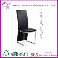 modern black leather high back dining room chair