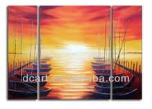 Hot design abstract boat painting beautiful landscape with high quality