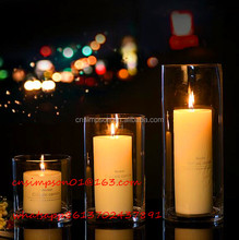 tall round clear glass candle holder for home decoration