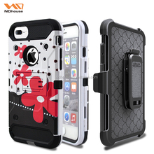 Factory hot sell for iphone 7 plus belt clip case 4 in 1 tough back cover with printing