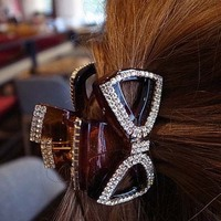 Coolreal lovely Rhinestone Fashion Silver Crystal Plastic bow Hair Claw for women