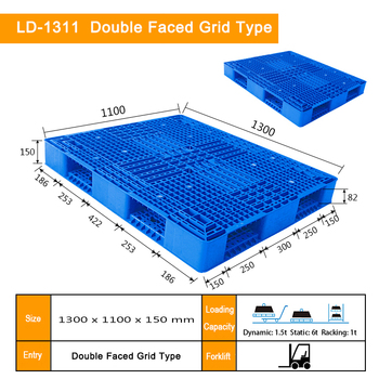 1300*1100*150mm double faced grid hdpe plastic pallet prices