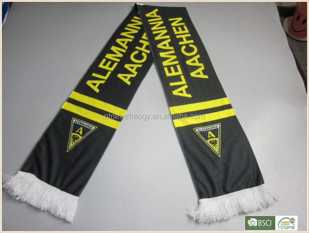 Hot sale 100% polyester digit printed fan scarf, football scarf for club and game
