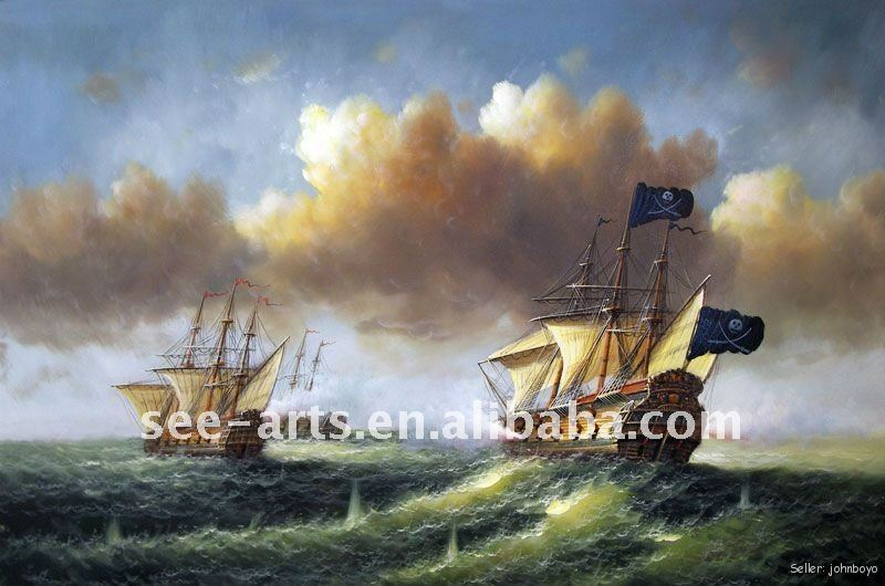 Pirate Ship Sea Battle Ocean seascape oil painting