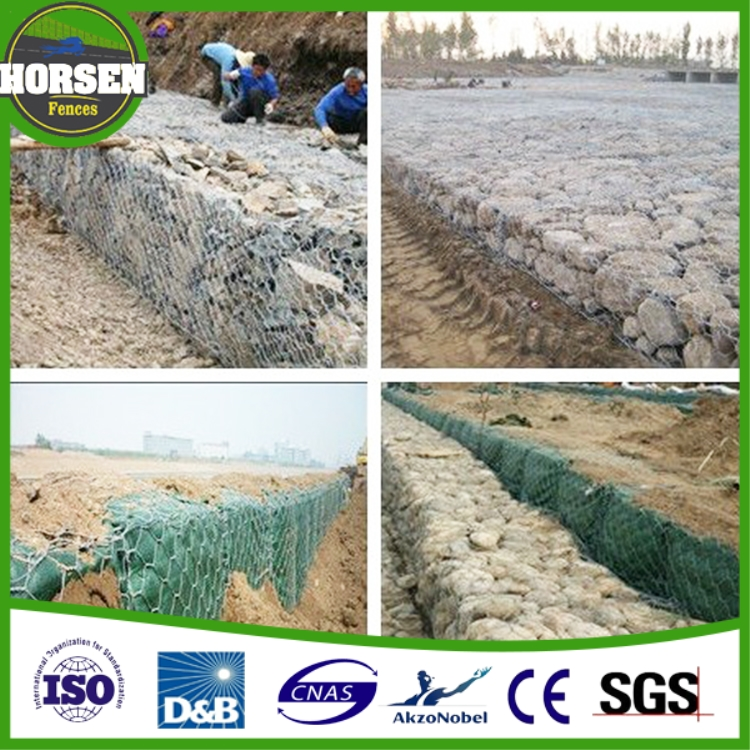 high quality galvanized wire mesh twisted gabion/hexagonal stone cage/diy gabion baskets