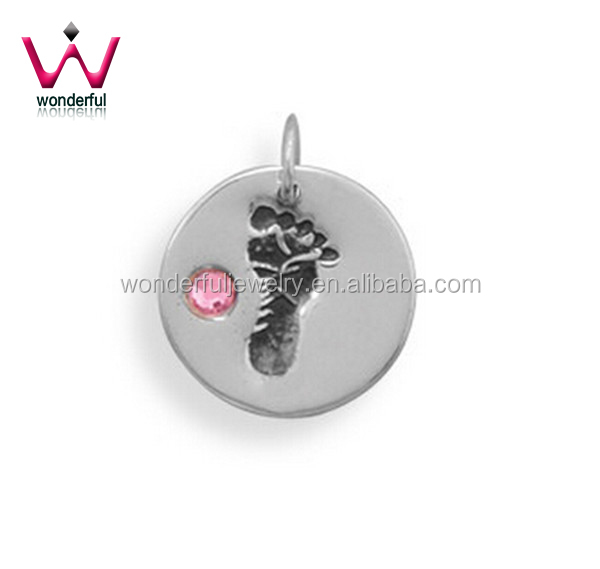 Her Tiny Toes Pretty Little Stainless Steel Pendant with Pink Crystal