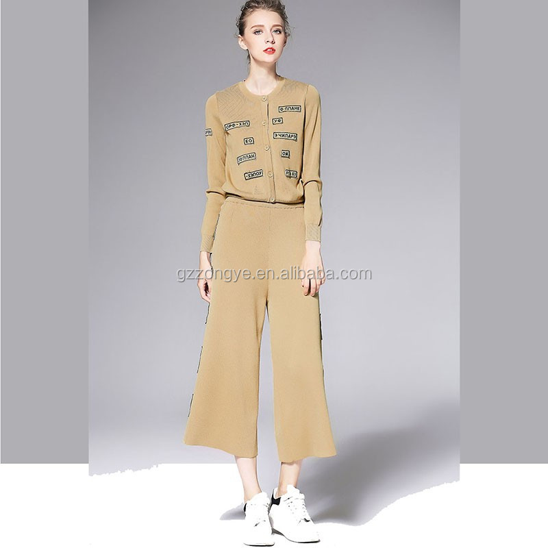 wholesale women wool knitted cardigans with pants