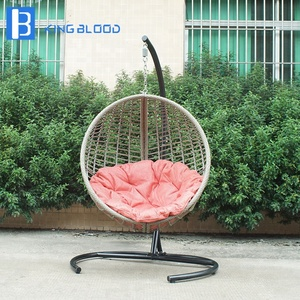 aluminum patio rattan knock down hanging egg rattan swing chair