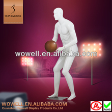 Full body abstract head playing basketball mannequins