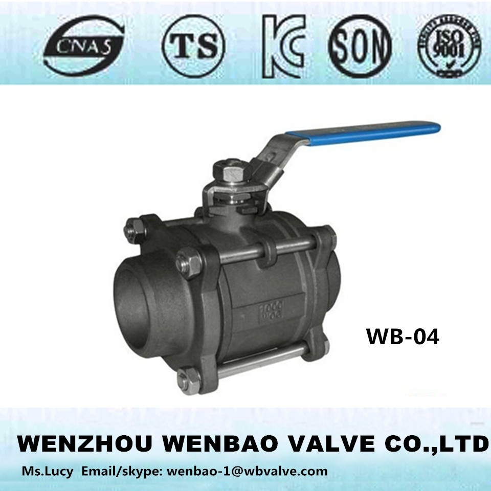 WB-04 Carbon Steel Ball Valve,ball:STAINLESS STEEL TYPE 304, FULL BORE, TEFLON SEATS,,PRESSURE RATING: 2000 PSI, 3 PCS TYPE,