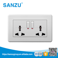 British Standard 2 Gang universal Wall Socket and Switch with light indicator, 3-pin Plug Socket