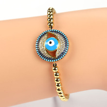 Micro Pave CZ Evil Eye Double Bails Connector Charm Beads Bracelet Braided Macrame Bracelet Handcraft Jewelry Gift