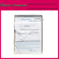 Wholesale something blue wedding romance Best Gift Embroidered Handkerchief to my sister with love