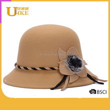ULIKE Wool safari fedora hat Wholesale China lady Winter Wool Felt Cloche cap