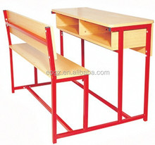 Wooden Double Antique School Desk, School Desks Metal Frame, School Student Desk and Chair