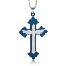Fashion blue men's jesus cross pendant,China jewelry factory directly cross pendant,china factory 316l stainless steel jewelry