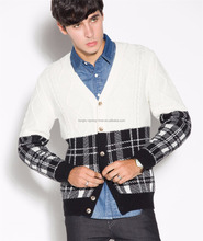 Whosale V Neck Black and White Plaid Knitted Men Sweaters Cardigan with Button