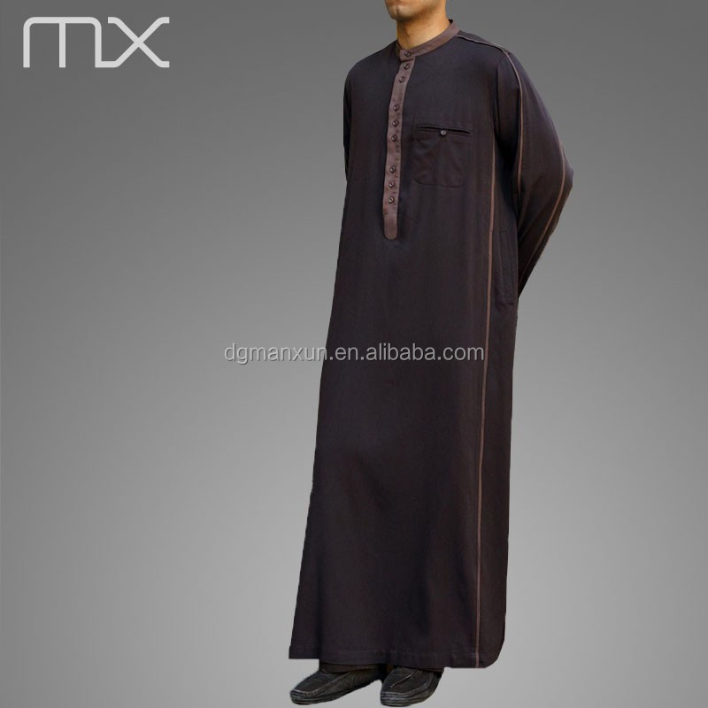 Men Saudi Style Abaya Islamic Clothing Designs From Dubai Soft Thobe Fabric Men Robe Caftan