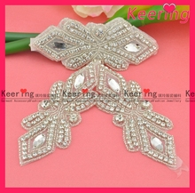 iron on bridal dress rhinestone applique a piece WRA-386
