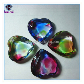Synthetic colorful glass double-sided flat heart-shaped cubic zircon stone