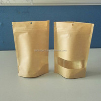 2015 new arrived recycled wholesale plain craft zipper self adhesive kraft paper bags lined aluminum foil