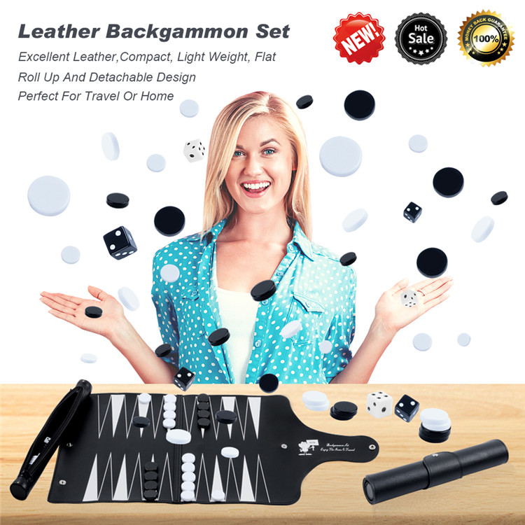 Backgammon Set Travel Leather Board Game Roll Up Design With Backgammon Pieces Inside