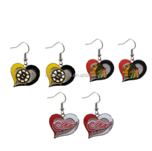 brand new NHL hockey teams swirl heart earring dangle charm
