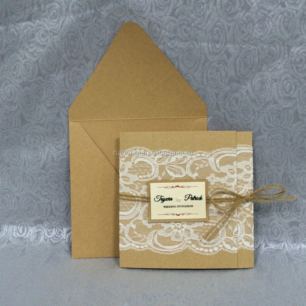 Vintage Kraft Paper Lace Wedding Invitation Cards With Small Pearl