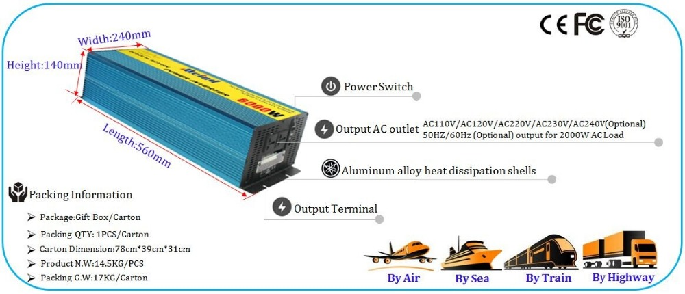 6000W Pure sine wave power inverter 1KW 2KW 3KW 4KW 5KW 6KW