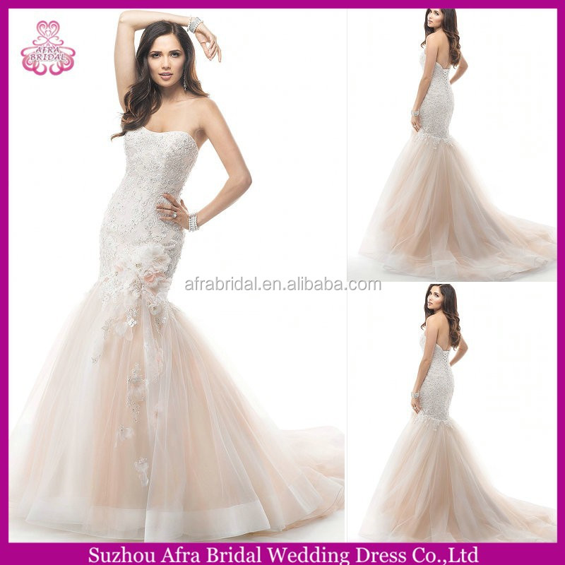QQ3154 free shipping mermaid lace pink and white wedding dresses