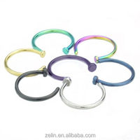 Guaged anodized titanium colored horseshoe CBR rings body piercing jewelry