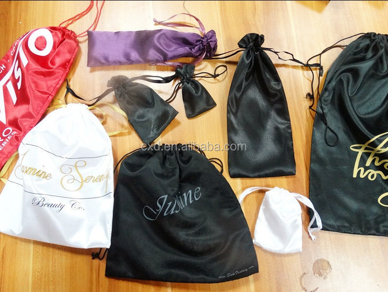 Wholesale custom large drawstring satin bag with logo printed