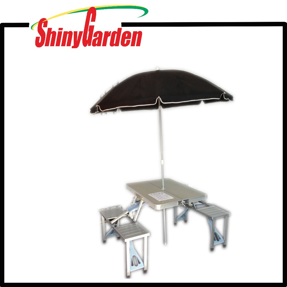 Walmart aluminium folding portable camping picnic table and chair, suitcase picnic table