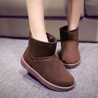 New design latest suede women shoes warm fluff inside ankle boots elegant girls casual winter snow boots flat ladies shoes